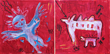 8. Anioł  I krowa | dyptyk  40/80 cm, akryl | 2014 r.<br/>An Angel and a Cow | diptych 40/80 cm, acrylic paint | 2014 r.